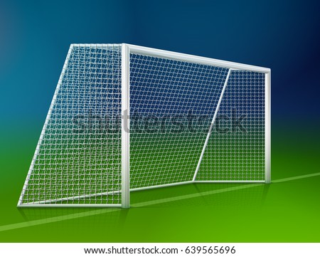 Soccer goal post with net, side view. Association football goal on field. Vector illustration for soccer & football, sport game and championship