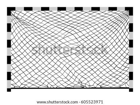 Soccer goal vector. Handball vector construction with net. Footsal goal.