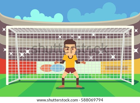 Soccer goalkeeper keeping goal vector illustration