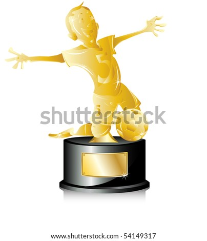 Soccer Golden Trophy First Place. Editable Vector Illustration