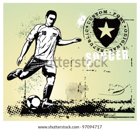 soccer grunge scene with player and gradient background
