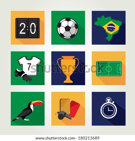 Soccer icon set Brazil summer world game Flat design Vector illustration