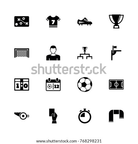 Soccer icons - Expand to any size - Change to any colour. Flat Vector Icons - Black Illustration on White Background.