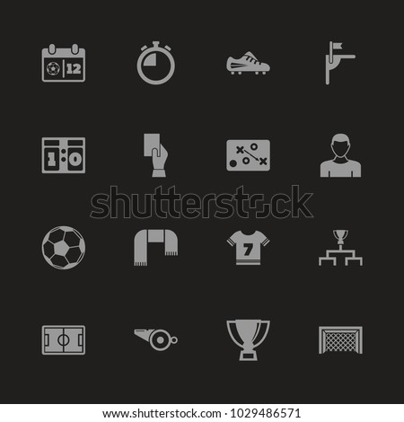Soccer icons - Gray symbol on black background. Simple illustration. Flat Vector Icon.