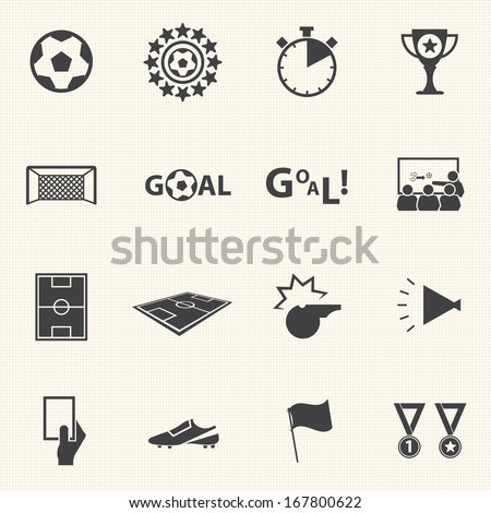 soccer icons set with texture