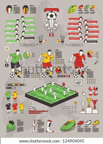 soccer info graphic elements, football vector background