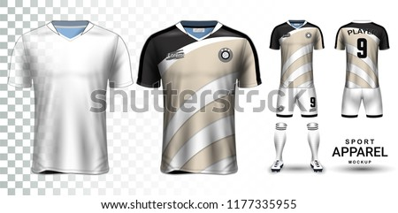 Soccer Jersey and Football Kit Presentation Mockup, The T-shirt Front and Back View and it is Fully Customization Isolated on Transparent Background, Can be used as a template with your own design.
