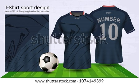 Soccer jersey and t-shirt sport mockup template, Graphic design for football kit or activewear uniforms, Ready for customize logo and name, Easily to change colors and lettering styles in your team.