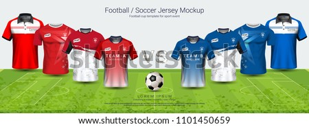 Soccer jersey and t-shirt sport mockup template team A vs team B, Graphic design for football kit or active wear uniforms, You can choose between 4 types of neck and can change all design parts.