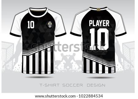 d63aacdbca7 Soccer jersey fabic. Black and white layout football sport t-shirt design.  Template