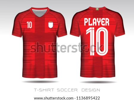 2902aa963 Soccer jersey fabic. Red and white layout football sport t-shirt design.  Template