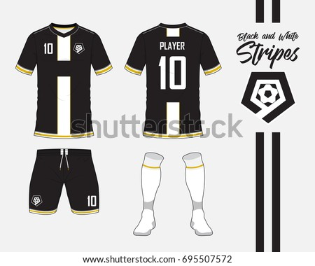 218ced371 Soccer jersey or football kit collection in black and white stripes  concept. Football shirt mock