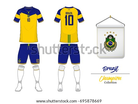 Soccer jersey or football kit collection in World Cup Championship Concept.  Brazil football national team f83755b07