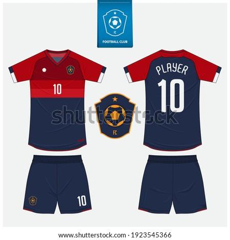 Soccer jersey or football kit mockup template design for sport club. Football t-shirt sport, shorts mock up. Soccer uniform in front view, back view. Soccer logo in flat design. Vector Illustration.