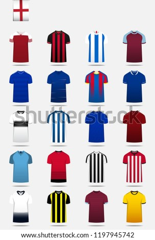 abcb8630e39 English Football League One jerseys 2016 - 2017 vector icons set #500301919  · Soccer jersey or football kit, shorts, sock template design for sport  club.