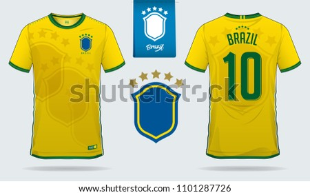 6d12553a651 Soccer jersey or football kit template design for Brazil national football  team. Front and back