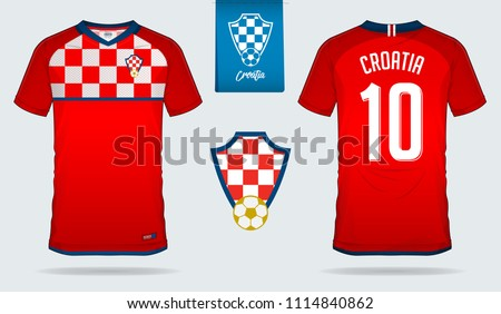 Soccer jersey or football kit template design for Croatia national football team. Front and back view soccer uniform. Football t shirt mock up with flat logo design. Vector Illustration
