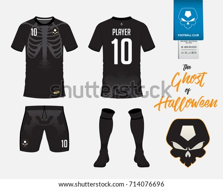 Soccer Jersey Or Football Kit Template In Halloween Concept T Shirt Mock Up