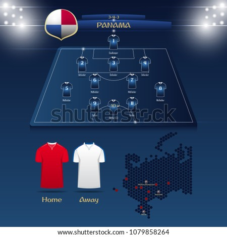 soccer jersey or football kit with match formation tactic infographic. Football player position on football pitch and stadium map. Vector Illustration.