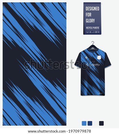 Soccer jersey pattern design. Abstract pattern on blue background for soccer kit, football kit, bicycle, e-sport, basketball, t-shirt mockup template. Fabric pattern. Sport background. Vector.