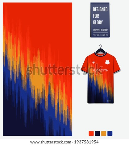 Soccer jersey pattern design. Abstract pattern on orange background for soccer kit, football kit, bicycle, e-sport, basketball, t-shirt mockup template. Fabric pattern. Sport background. Vector