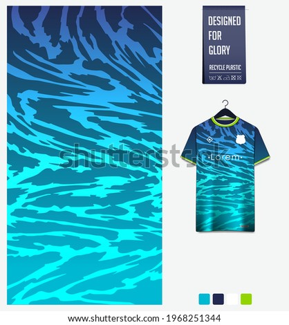 Soccer jersey pattern design. Abstract pattern on turquoise blue background for soccer kit, football kit, bicycle, e-sport, basketball, t-shirt mockup template. Fabric pattern. Sport background.Vector