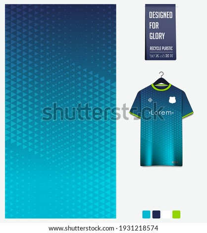 Soccer jersey pattern design. Geometric pattern blue abstract background for soccer kit, football kit, bicycle, e-sport, basketball, t-shirt mockup template. Fabric pattern. Sport background. Vector