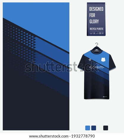 Soccer jersey pattern design. Geometric pattern on blue abstract background for soccer kit, football kit, bicycle, e-sport, basketball, t-shirt mockup template. Fabric pattern.Sport background. Vector