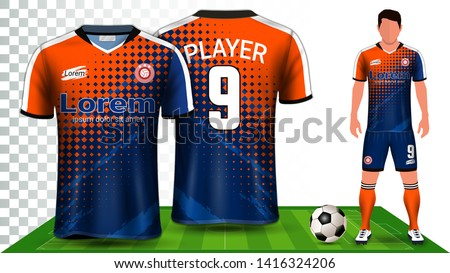 Soccer Jersey, Sport Shirt or Football Kit Uniform Presentation Mockup Template, Front and Back View Including Shorts and Socks and it is Fully Customization Isolated on Transparent Background.