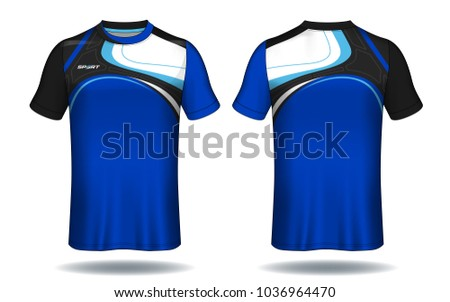 Soccer jersey template.Blue and black layout football sport t-shirt design. Template front, back view. Soccer kit national team shirt mock up.