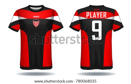 Soccer jersey template.Red and black layout sport t-shirt design.