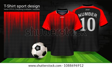 Soccer jersey template, Sport t-shirt style, Design football kit uniform or activewear and gym clothes, For your custom made team or any occasion, Everything is edible, resizable and color change.