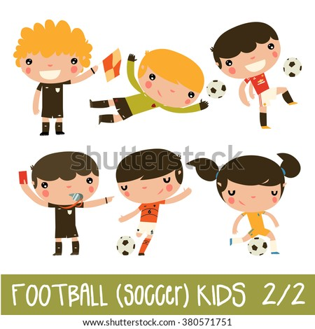 soccer kids set cute football