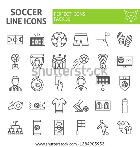 Soccer line icon set, football symbols collection, vector sketches, logo illustrations, sport game signs linear pictograms package isolated on white background, eps 10.