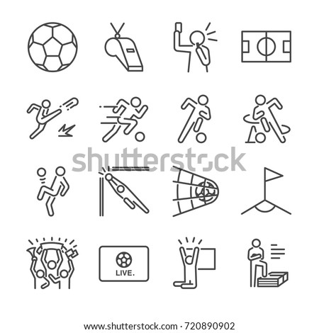 soccer line icon set included