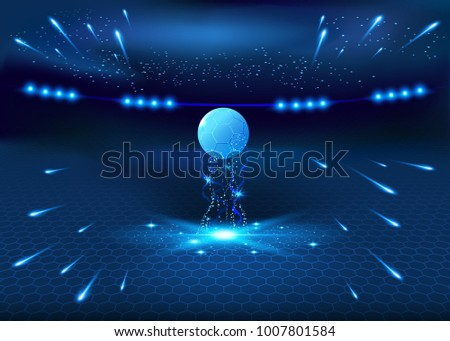 Soccer night stadium - abstract vector background, blue glow illustration, football game field