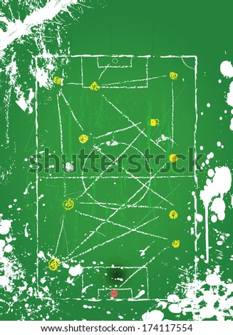 Soccer o.  Football tactical diagram, grunge style, vector, free copy space