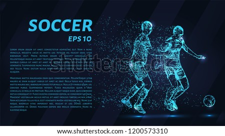 Soccer of the particles carries in the wind. Silhouette of a soccer player from circles.