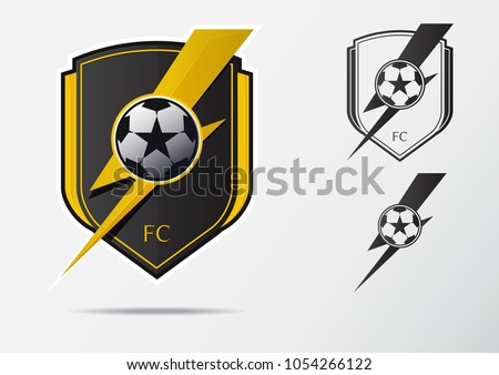 Soccer or Football Badge Logo Design for football team. Minimal design of golden thunder and black and white soccer ball. Football club logo in lightning black and white icon. Vector Illustration.