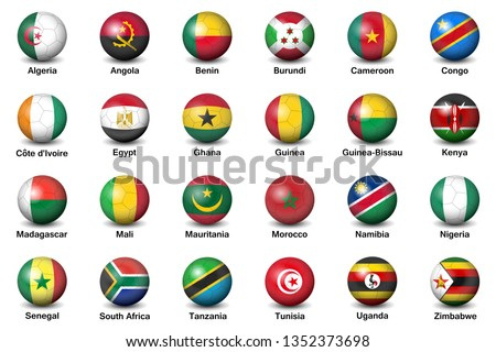 Soccer or football ball nation flag of African countries