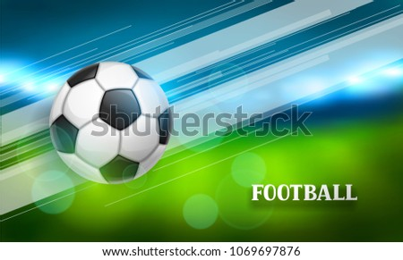 Soccer or football banner with ball. Sports illustration.