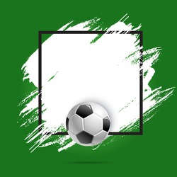 Soccer or football cup, sport ball, vector poster background or stain brush banner. Football or soccer match, championship and tournament empty template, ball goal on green field paint splash