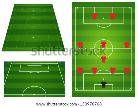Soccer or football field with players and team tactics