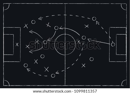 Soccer or football game tactics drawn with white chalk on blackboard, isolated, vector illustration Foto stock ©