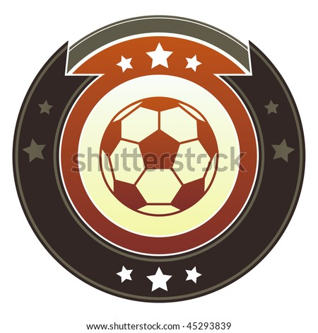 Soccer or football icon on round red and brown imperial vector button with star accents