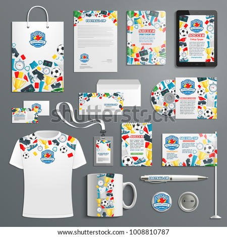 Soccer or football sport college team or club advertising promo items template for branding. Vector branded apparel and office stationery t-shirt apparel, business card, flag, mug cup and paper bag