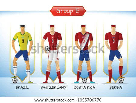 eb225b3a16a Soccer or football team 2018 uniform a group E. players with team shirts  flags.