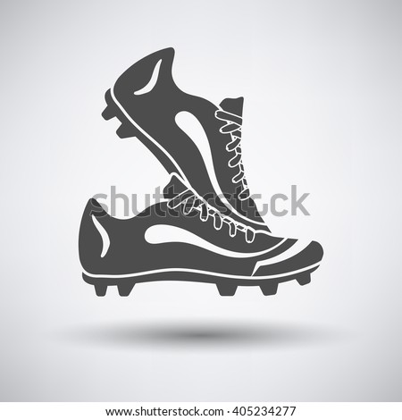 Soccer pair of boots  icon on gray background with round shadow. Vector illustration.