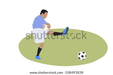 Soccer player about to shoot the ball