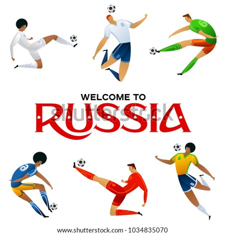 Soccer player against the background of the stadium FIFA world cup. Welcome to Russia. Football player in Russia 2018. Fool color vector illustration in flat style isolated on white background.